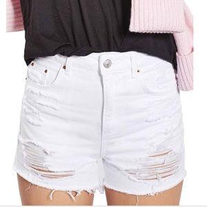 Topshop Moto petite distressed white jeans shorts